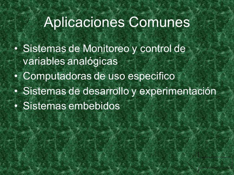 Aplicaciones Comunes Sistemas de Monitoreo y control de variables analógicas. Computadoras de uso especifico.