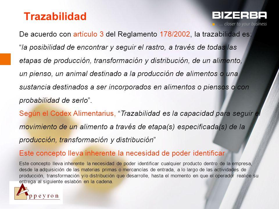 Trazabilidad De acuerdo con artículo 3 del Reglamento 178/2002, la trazabilidad es: