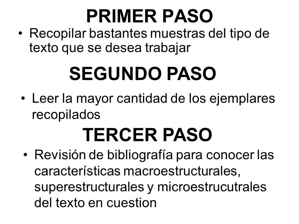 PRIMER PASO SEGUNDO PASO TERCER PASO