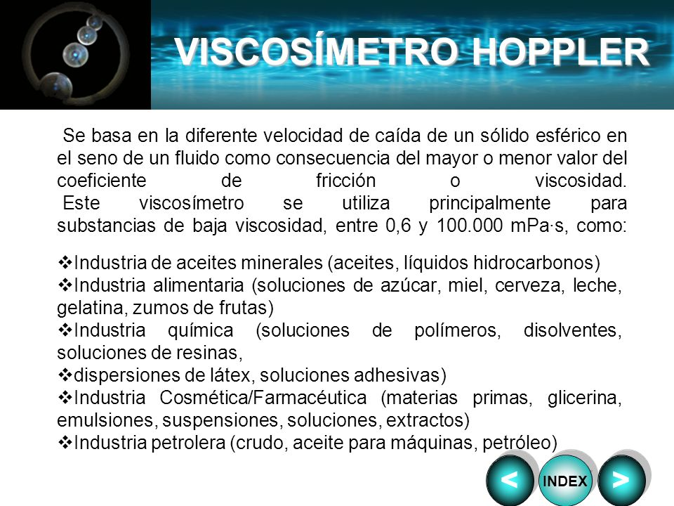 VISCOSÍMETRO HOPPLER < >