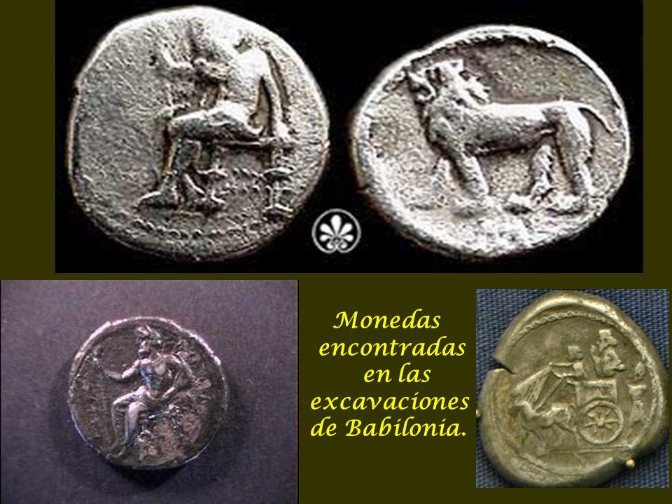 Monedas encontradas en las excavaciones de Babilonia.