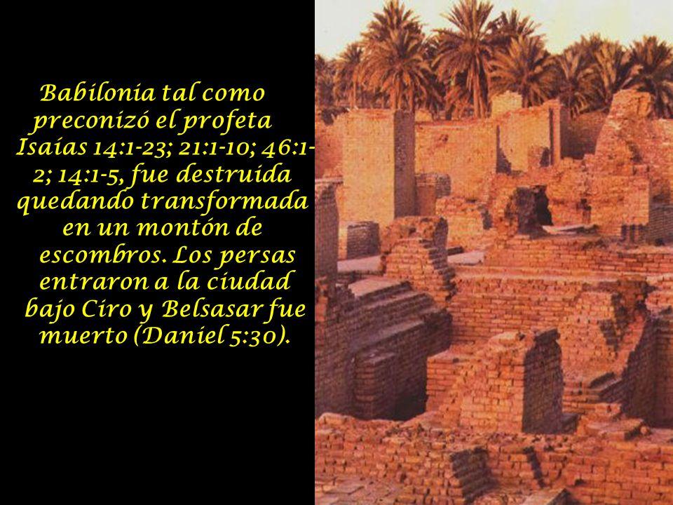 Babilonia tal como preconizó el profeta Isaías 14:1-23; 21:1-10; 46:1- 2; 14:1-5, fue destruida quedando transformada en un montón de escombros.