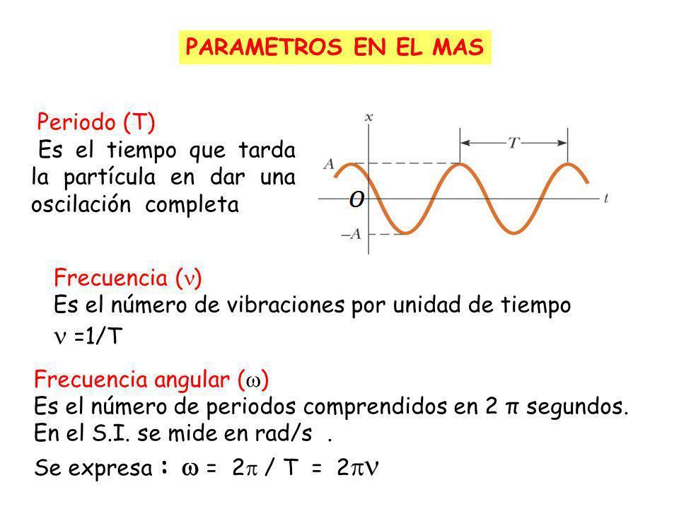 PARAMETROS EN EL MAS Periodo (T) Es el tiempo que tarda la partícula en dar una oscilación completa.