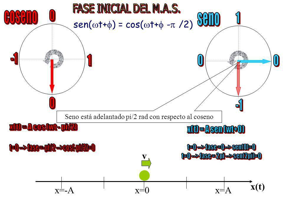 coseno seno 1 sen(t+) = cos(t+ - /2) -1 1 -1 v x(t) x=-A x=0 x=A