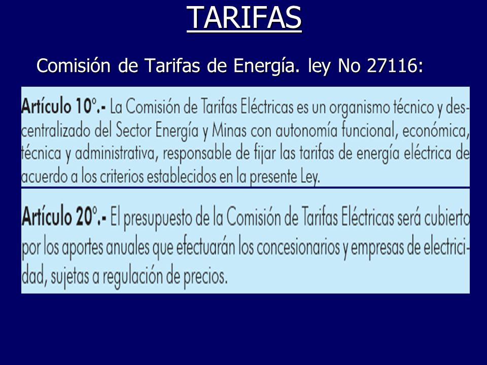 TARIFAS Comisión de Tarifas de Energía. ley No 27116: