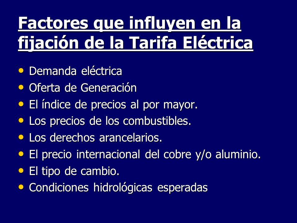 Factores que influyen en la fijación de la Tarifa Eléctrica