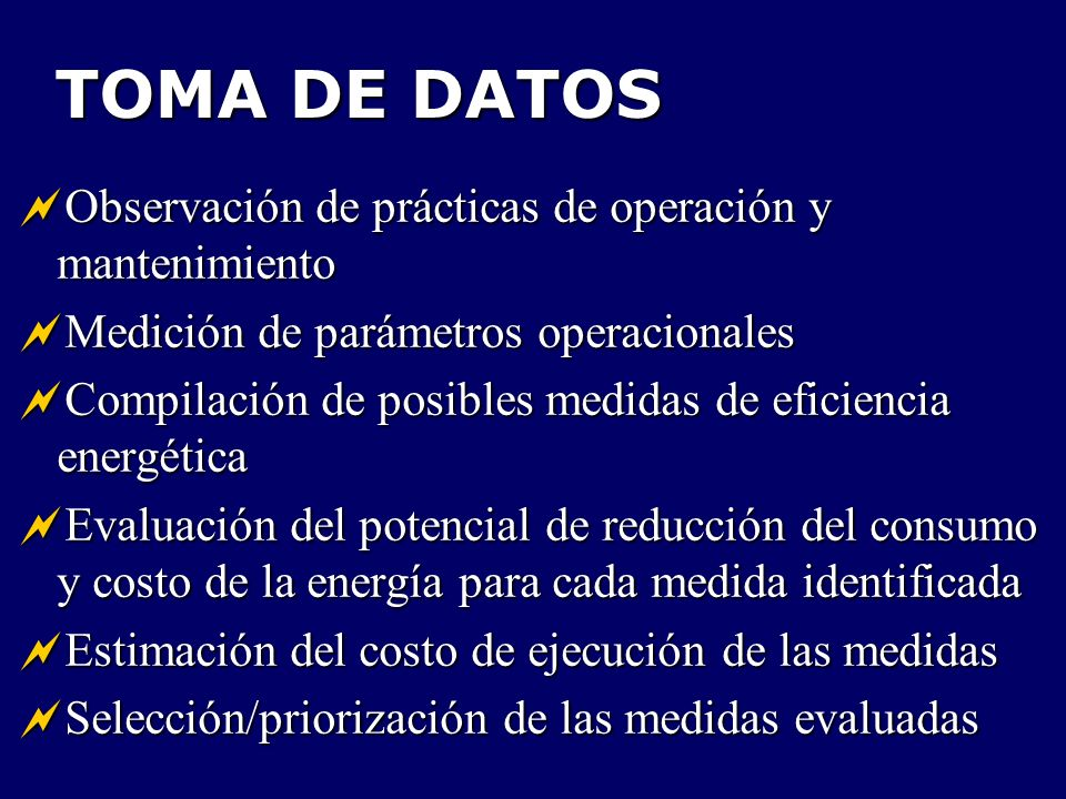 TOMA DE DATOS Observación de prácticas de operación y mantenimiento