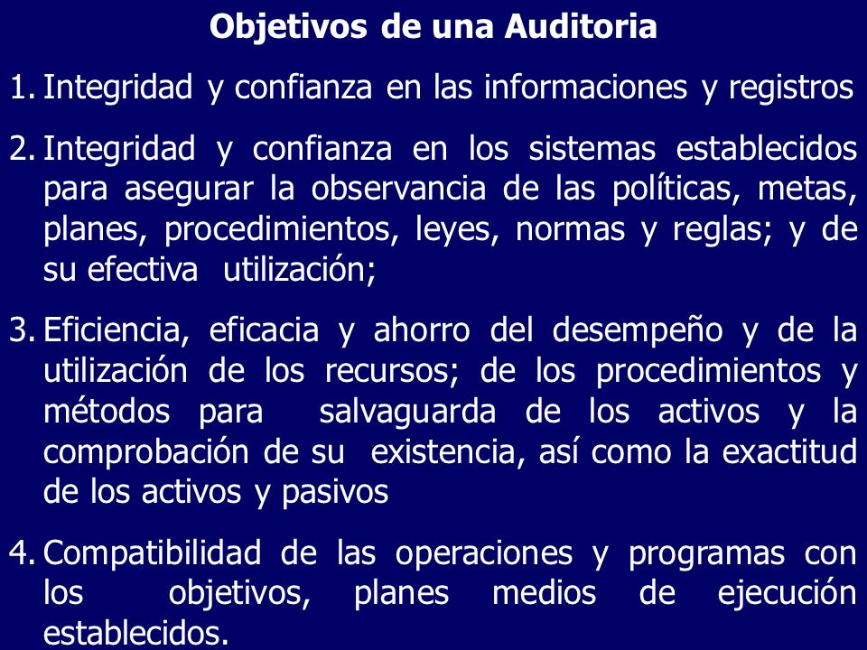 Objetivos de una Auditoria