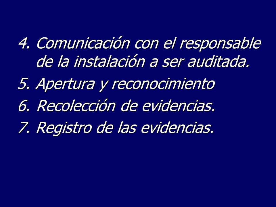 4. Comunicación con el responsable de la instalación a ser auditada.