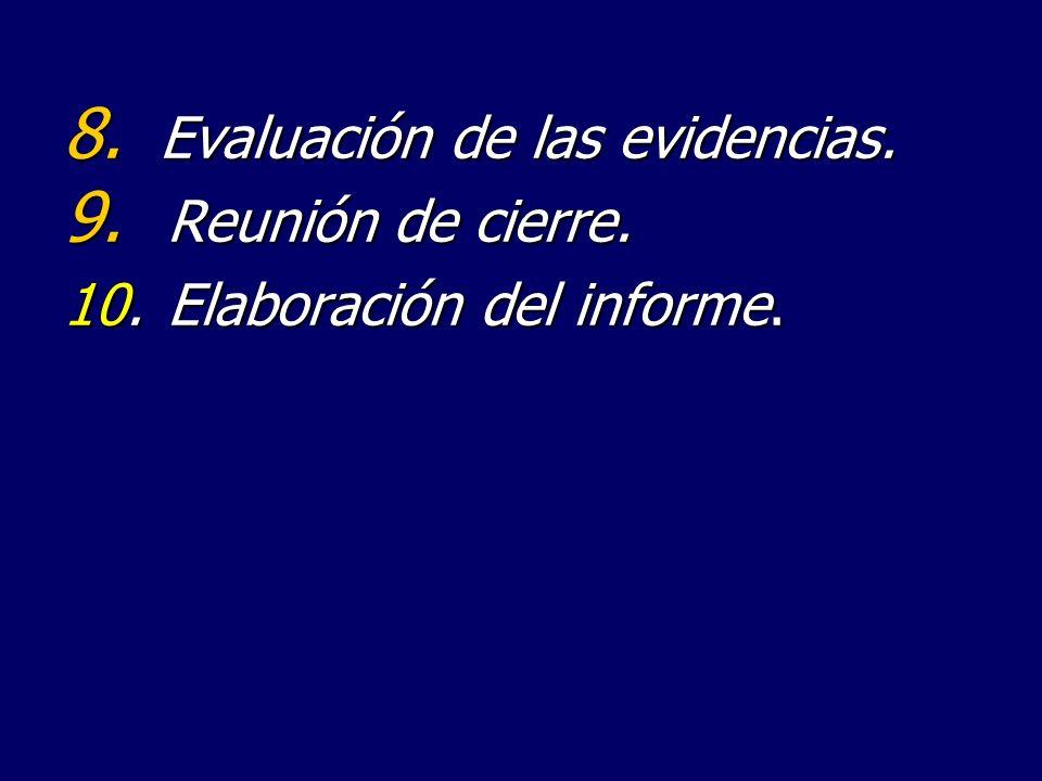 Evaluación de las evidencias.