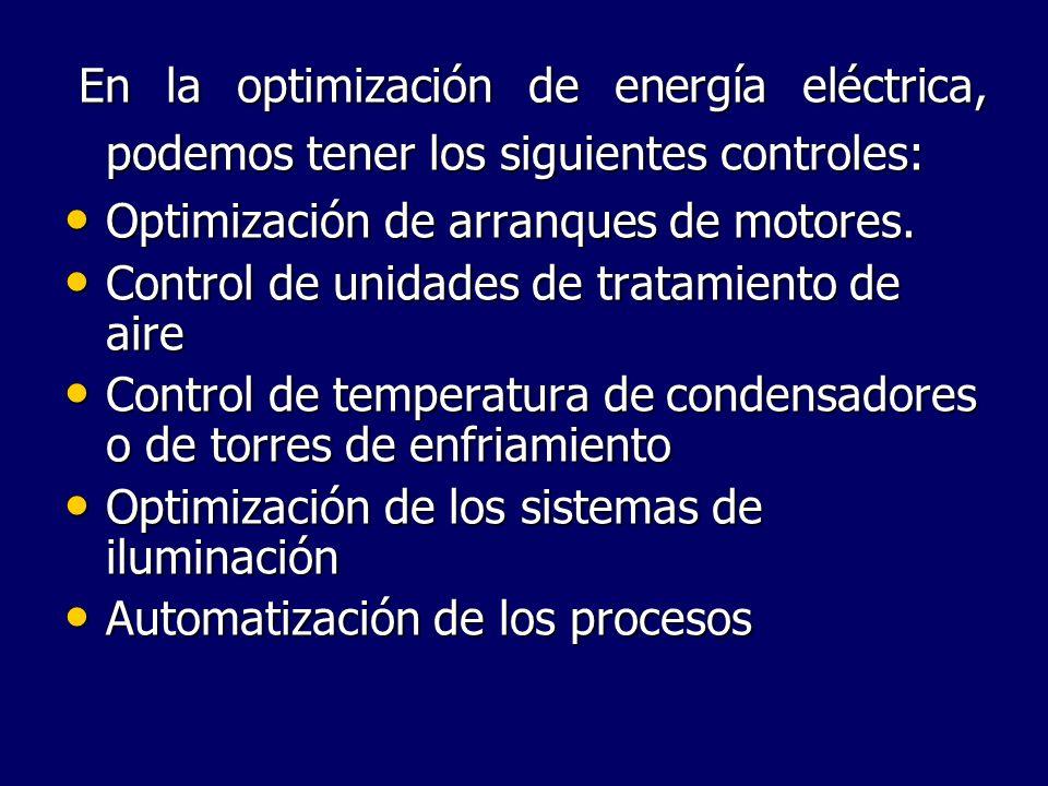 En la optimización de energía eléctrica, podemos tener los siguientes controles: