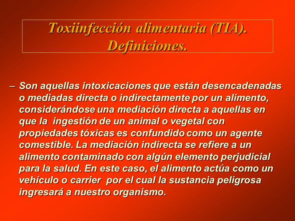 Toxiinfección alimentaria (TIA). Definiciones.
