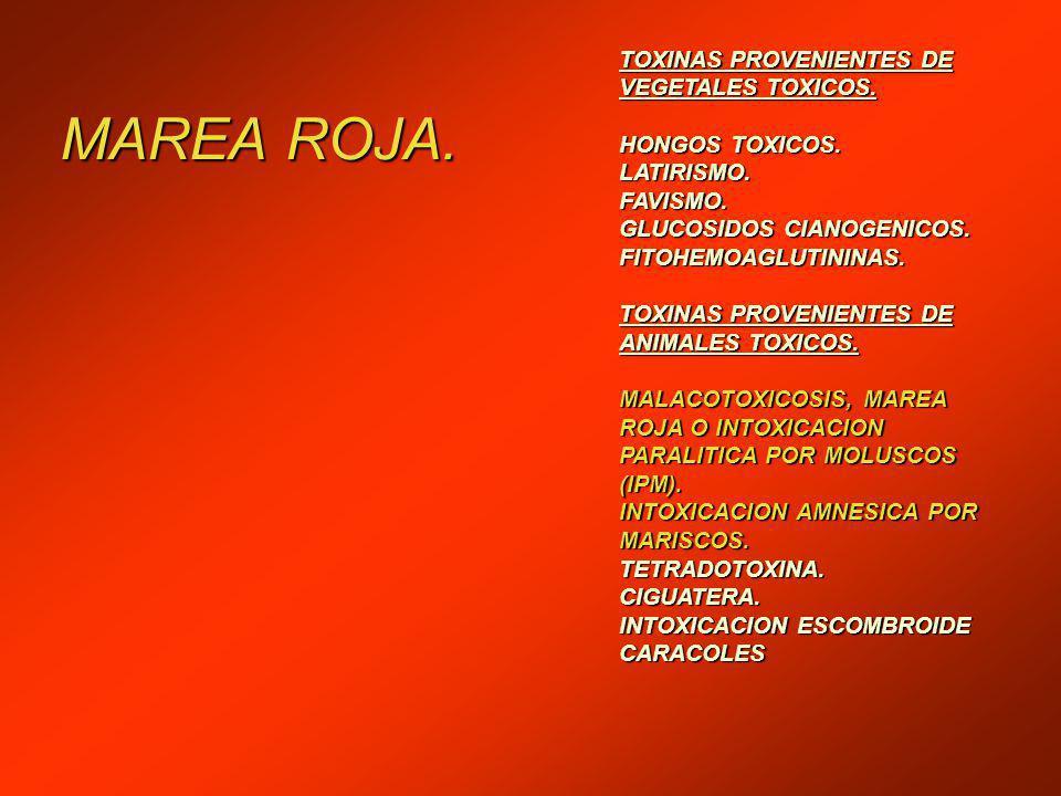 MAREA ROJA. TOXINAS PROVENIENTES DE VEGETALES TOXICOS. HONGOS TOXICOS.