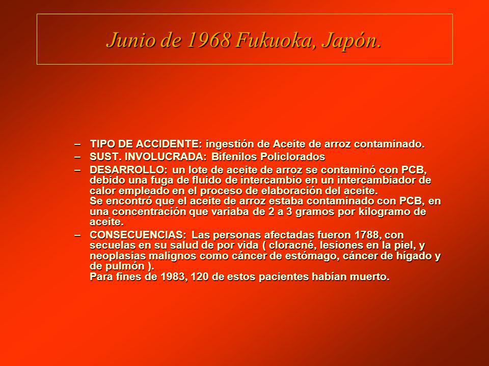 Junio de 1968 Fukuoka, Japón. TIPO DE ACCIDENTE: ingestión de Aceite de arroz contaminado. SUST. INVOLUCRADA: Bifenilos Policlorados.