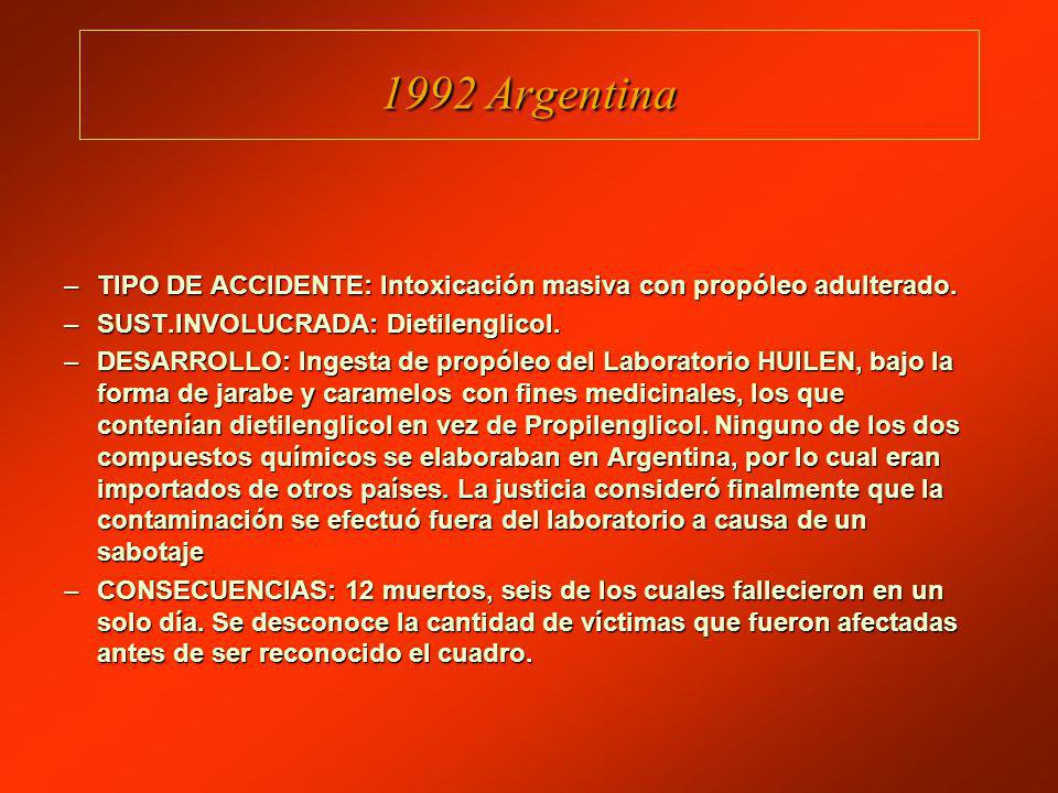 1992 Argentina TIPO DE ACCIDENTE: Intoxicación masiva con propóleo adulterado. SUST.INVOLUCRADA: Dietilenglicol.