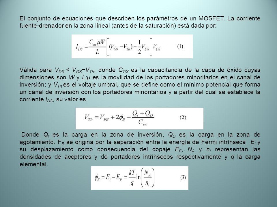 El conjunto de ecuaciones que describen los parámetros de un MOSFET