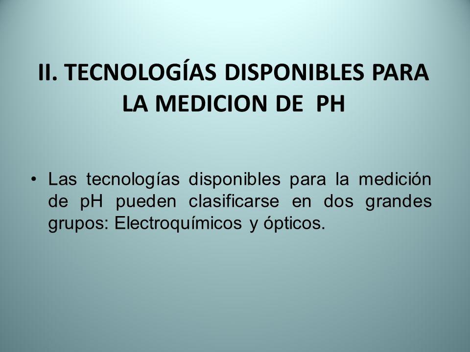 II. TECNOLOGÍAS DISPONIBLES PARA LA MEDICION DE PH