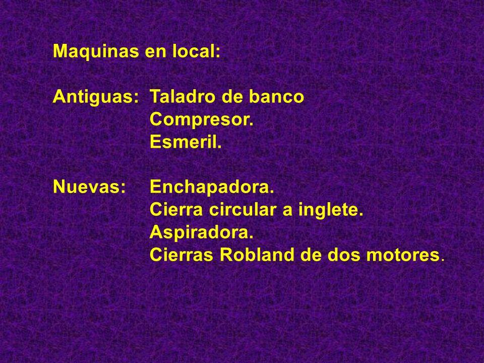Maquinas en local: Antiguas: Taladro de banco. Compresor. Esmeril. Nuevas: Enchapadora. Cierra circular a inglete.