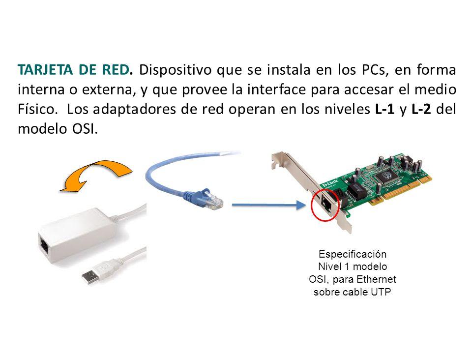Especificación Nivel 1 modelo OSI, para Ethernet sobre cable UTP