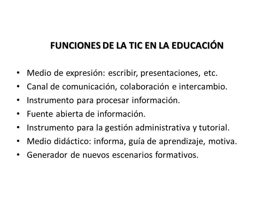FUNCIONES DE LA TIC EN LA EDUCACIÓN
