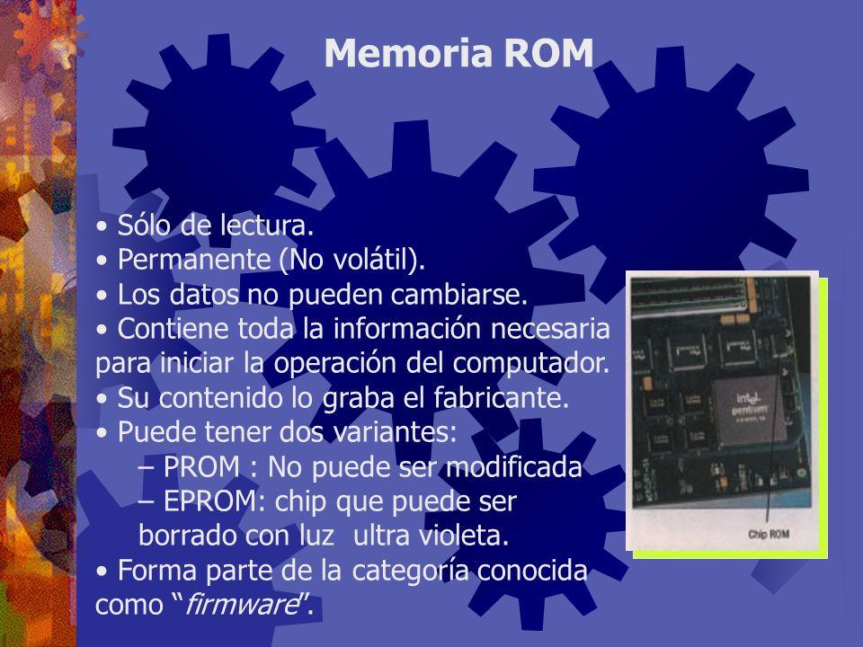 Memoria ROM Sólo de lectura. Permanente (No volátil).