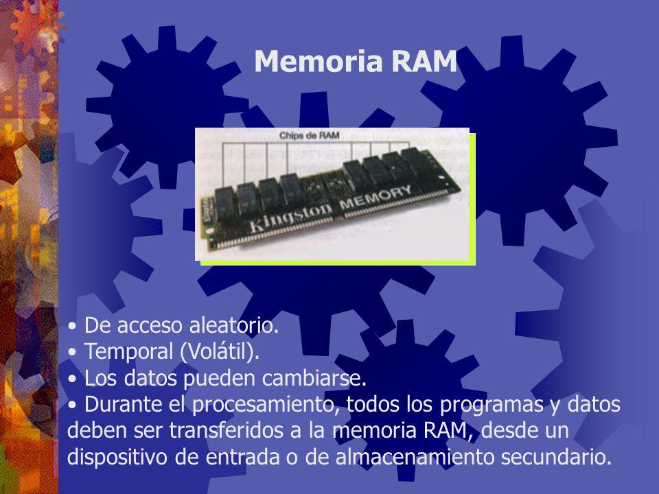 Memoria RAM De acceso aleatorio. Temporal (Volátil).