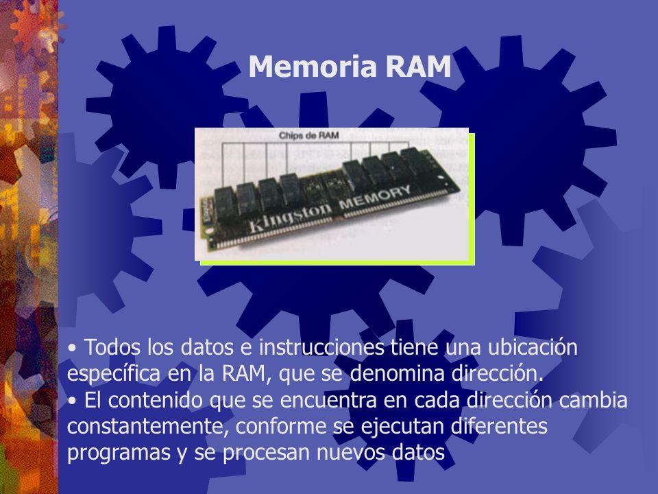 Memoria RAM Todos los datos e instrucciones tiene una ubicación específica en la RAM, que se denomina dirección.