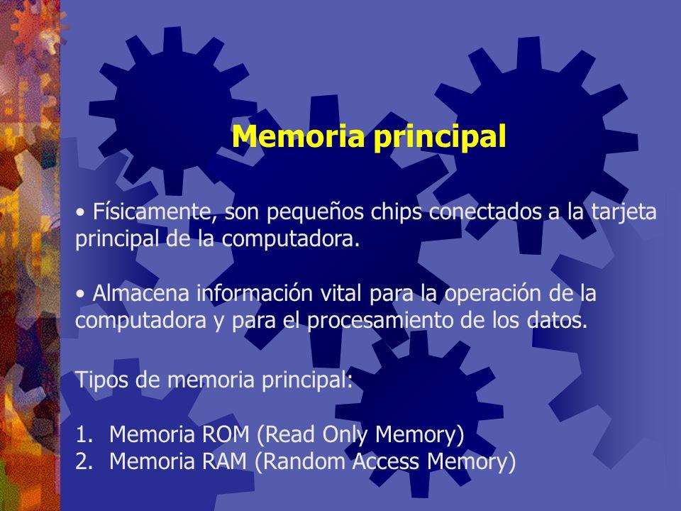 Memoria principal Físicamente, son pequeños chips conectados a la tarjeta principal de la computadora.