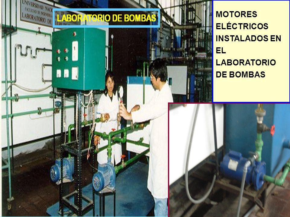 MOTORES ELÉCTRICOS INSTALADOS EN EL LABORATORIO DE BOMBAS