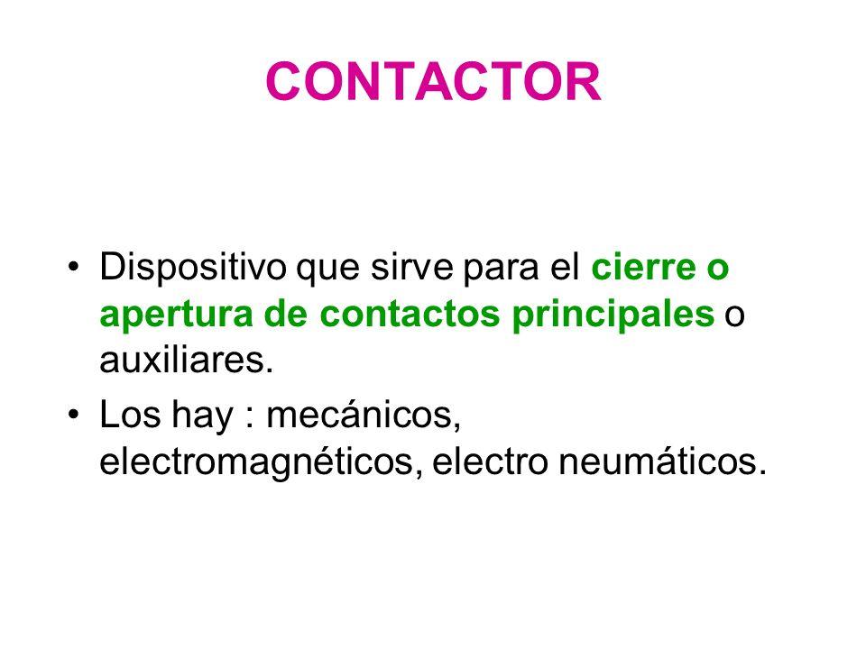 CONTACTOR Dispositivo que sirve para el cierre o apertura de contactos principales o auxiliares.