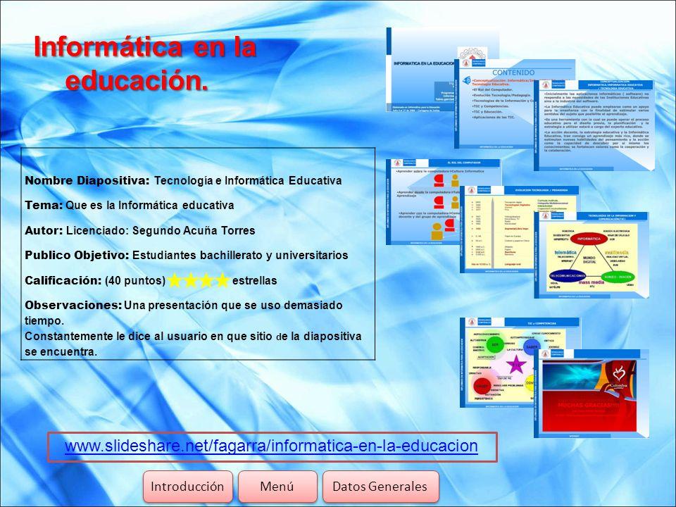 Informática en la educación.