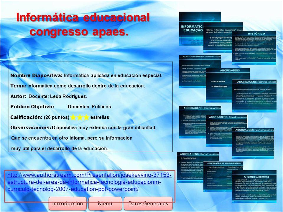 Informática educacional congresso apaes.