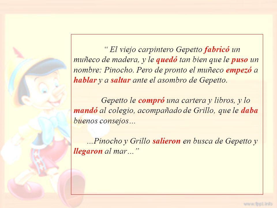El viejo carpintero Gepetto fabricó un muñeco de madera, y le quedó tan bien que le puso un nombre: Pinocho. Pero de pronto el muñeco empezó a hablar y a saltar ante el asombro de Gepetto.