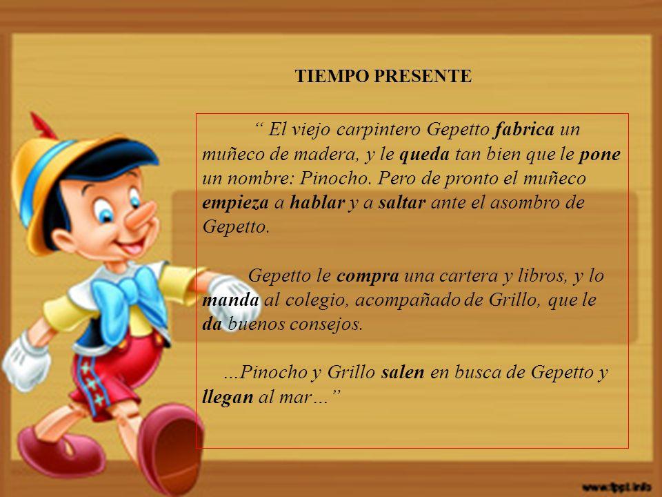 …Pinocho y Grillo salen en busca de Gepetto y llegan al mar…