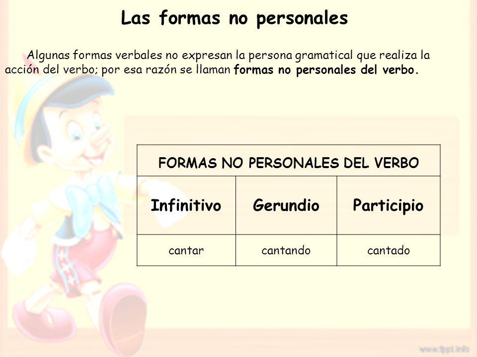 Las formas no personales FORMAS NO PERSONALES DEL VERBO