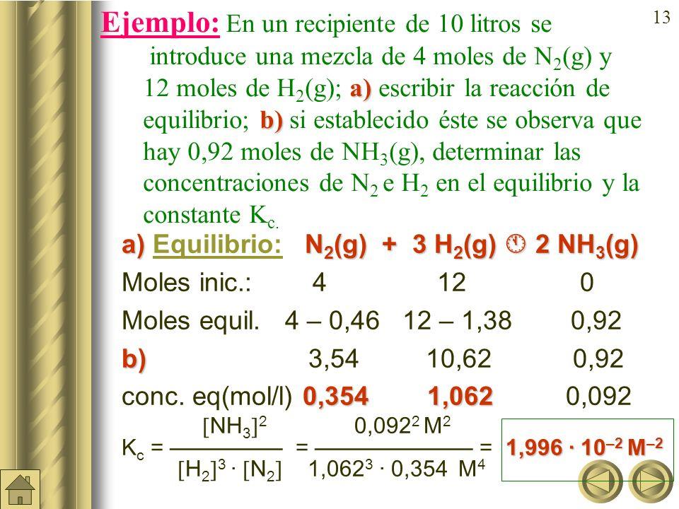 Ejemplo: En un recipiente de 10 litros se introduce una mezcla de 4 moles de N2(g) y 12moles de H2(g); a) escribir la reacción de equilibrio; b) si establecido éste se observa que hay 0,92 moles de NH3(g), determinar las concentraciones de N2 e H2 en el equilibrio y la constante Kc.