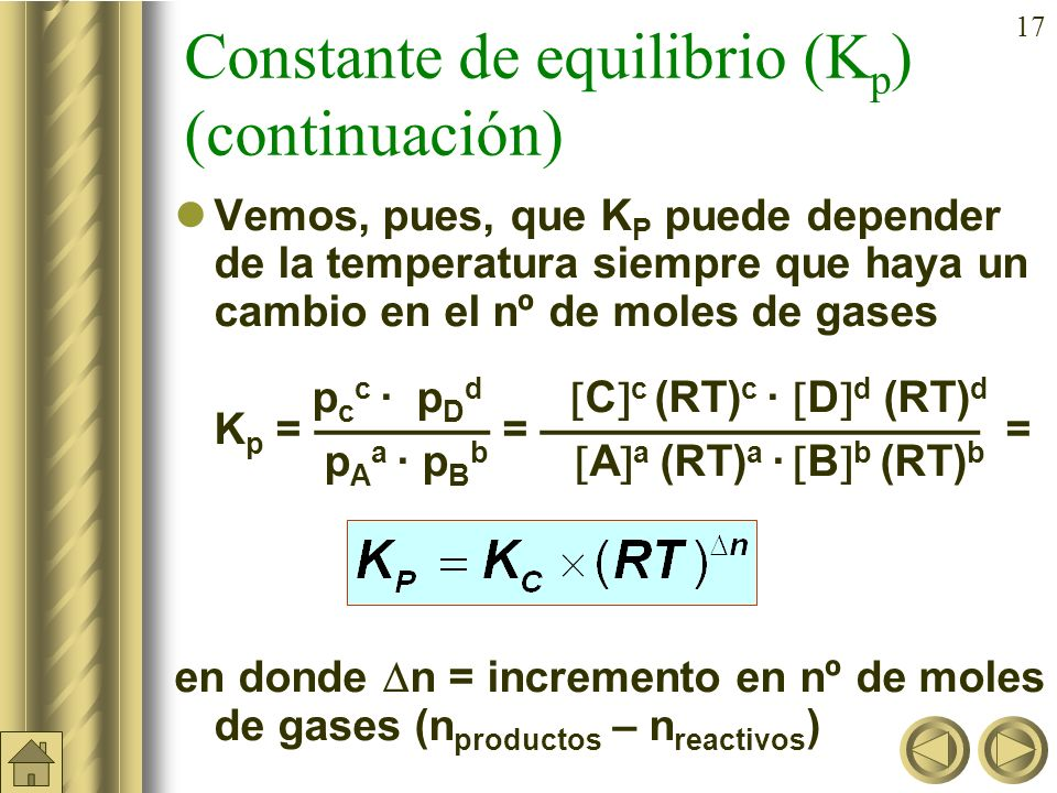 Constante de equilibrio (Kp) (continuación)