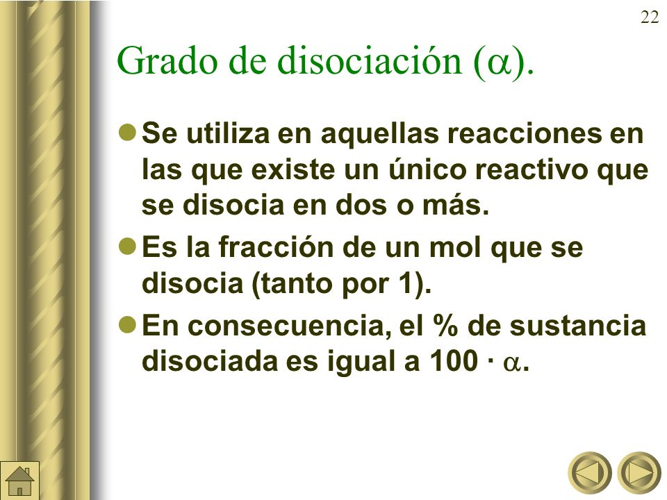 Grado de disociación ().