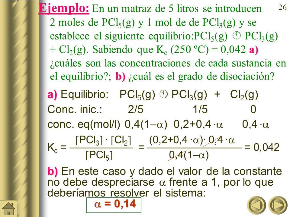 Ejemplo: En un matraz de 5 litros se introducen 2 moles de PCl5(g) y 1 mol de de PCl3(g) y se establece el siguiente equilibrio:PCl5(g)  PCl3(g) + Cl2(g). Sabiendo que Kc (250 ºC) = 0,042 a) ¿cuáles son las concentraciones de cada sustancia en el equilibrio ; b) ¿cuál es el grado de disociación
