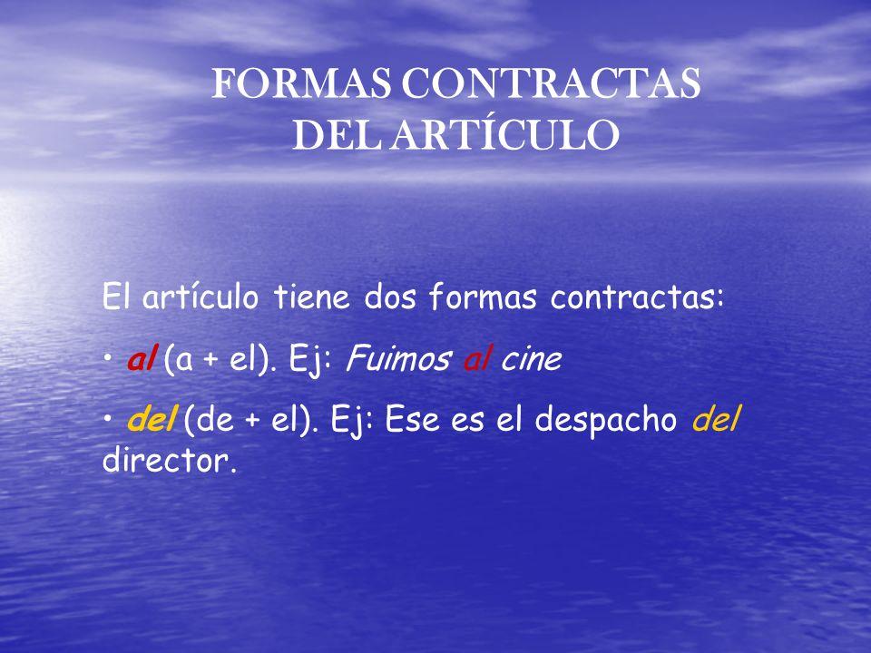 FORMAS CONTRACTAS DEL ARTÍCULO