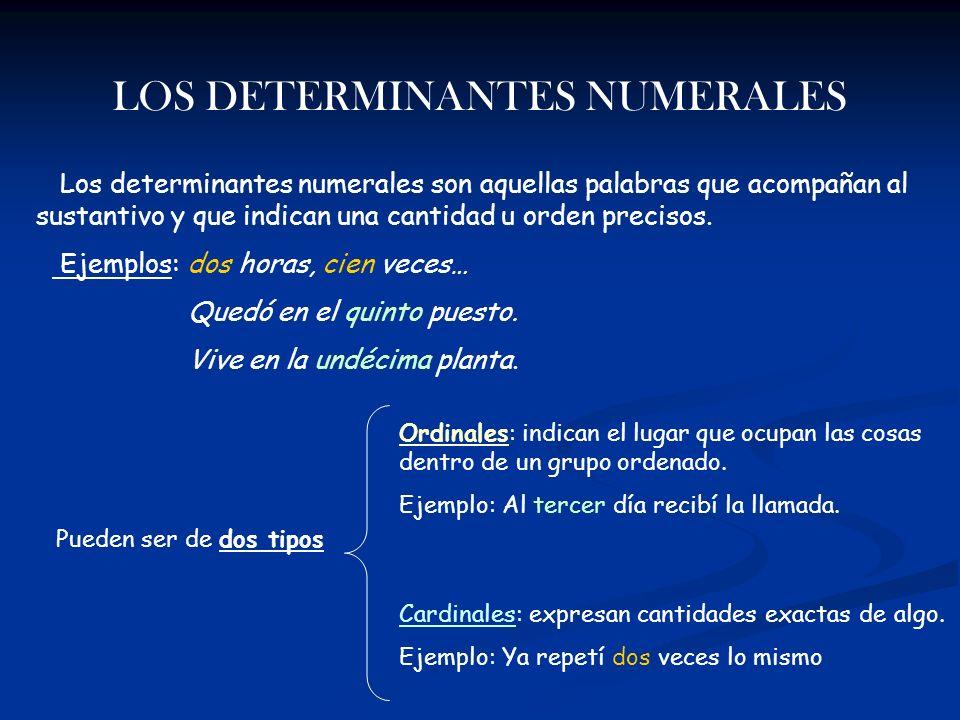 LOS DETERMINANTES NUMERALES