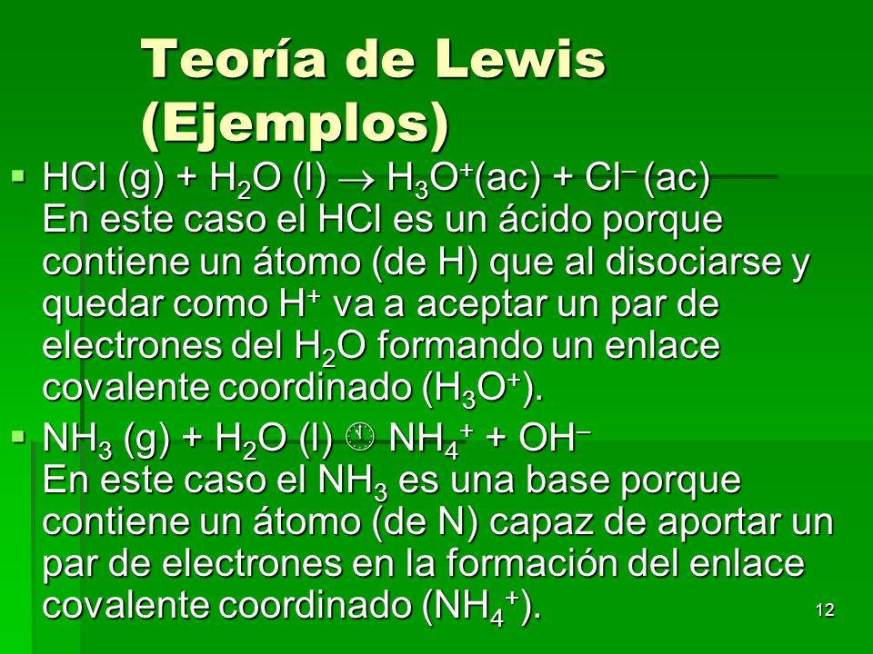 Teoría de Lewis (Ejemplos)