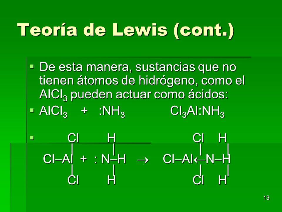 Teoría de Lewis (cont.) De esta manera, sustancias que no tienen átomos de hidrógeno, como el AlCl3 pueden actuar como ácidos: