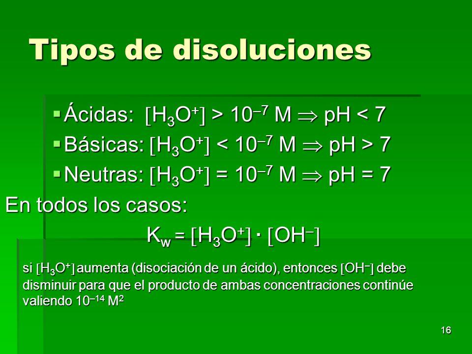 Tipos de disoluciones Ácidas: H3O+ > 10–7 M  pH < 7