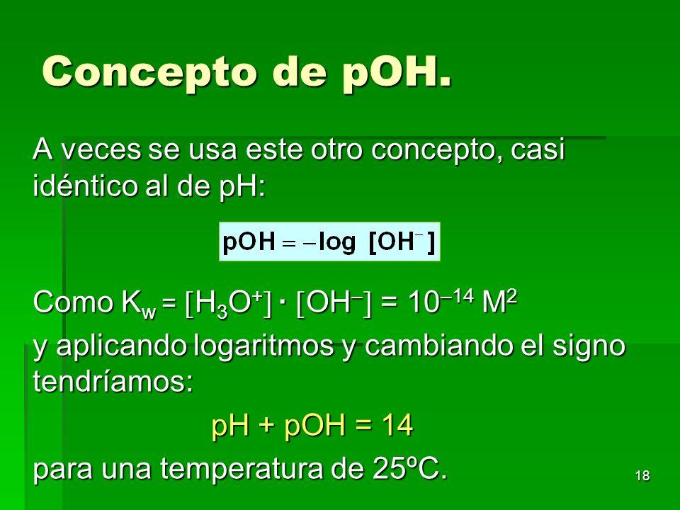 Concepto de pOH. A veces se usa este otro concepto, casi idéntico al de pH: Como Kw = H3O+ · OH– = 10–14 M2.