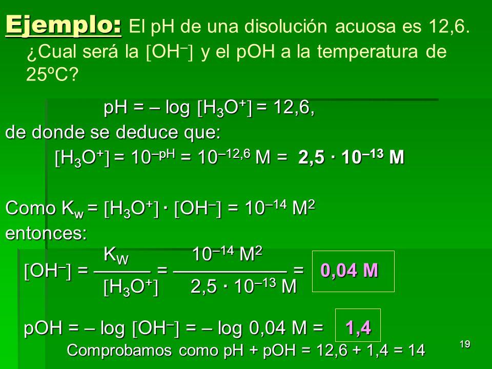 Comprobamos como pH + pOH = 12,6 + 1,4 = 14