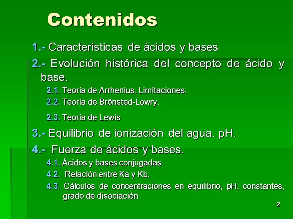 Contenidos 1.- Características de ácidos y bases