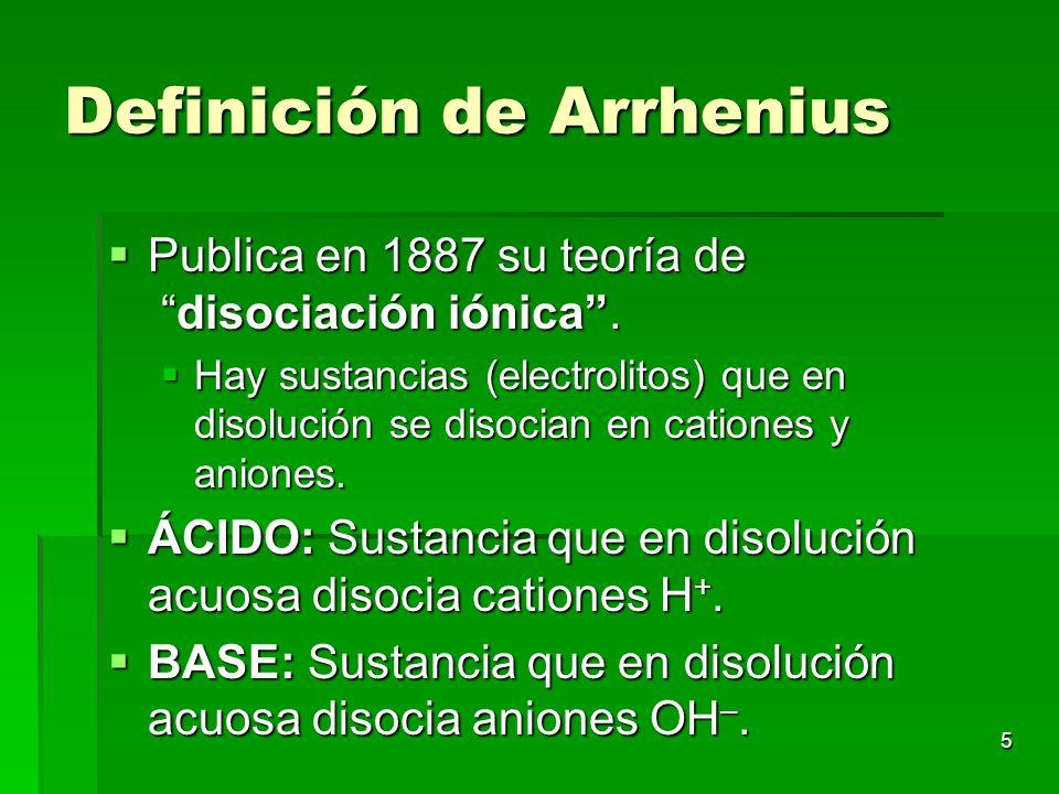 Definición de Arrhenius