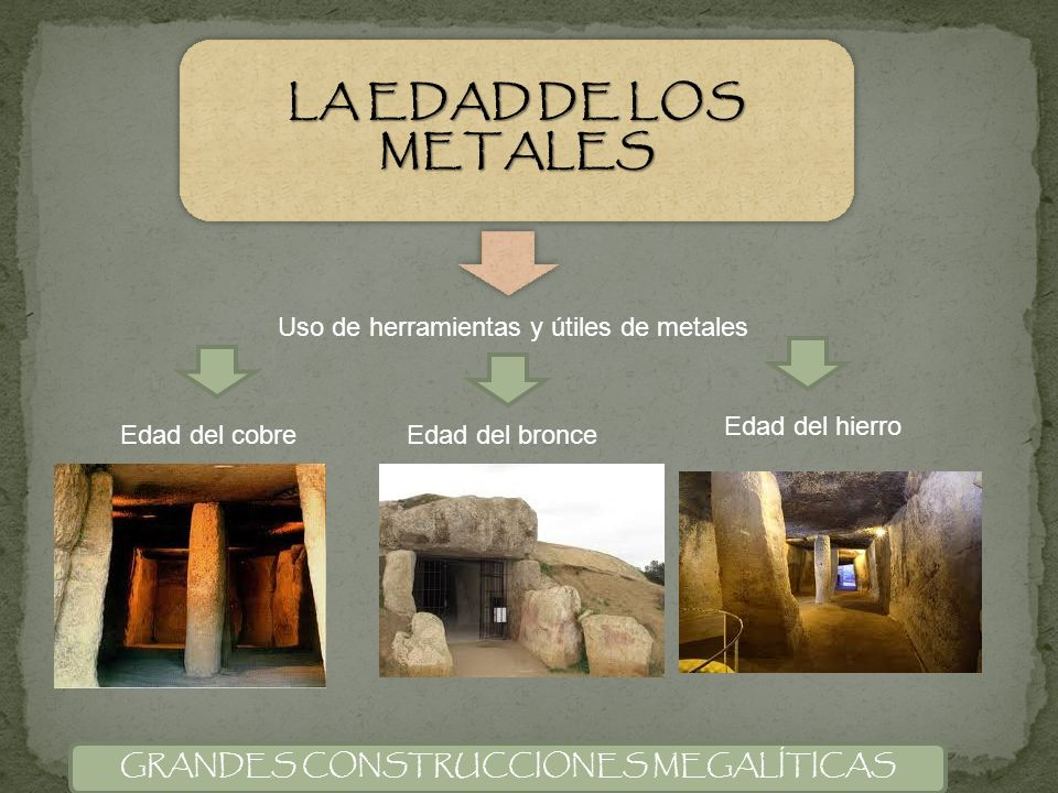LA EDAD DE LOS METALES Uso de herramientas y útiles de metales