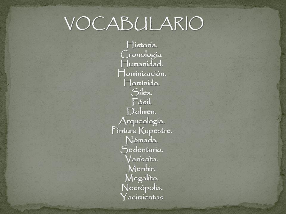VOCABULARIO Historia. Cronología. Humanidad. Hominización. Homínido.